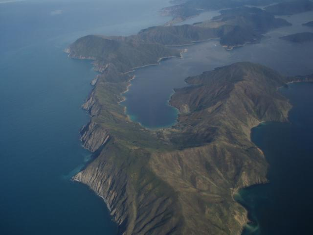 Islands from the plane approaching Wellington